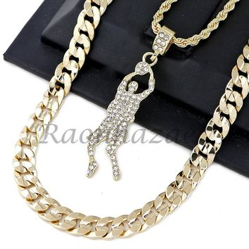 """ICED OUT BASKETBALL PLAYER PENDANT DIAMOND CUT 30"""" CUBAN ROPE CHAIN NECKLACE G34"""