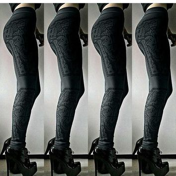 Grey Skeleton Pattern Elastic Waist Streetwear Polyester Long Pants