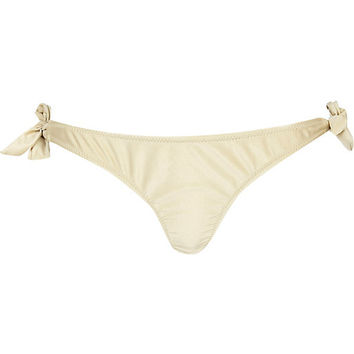 River Island Womens Gold 3d flower bikini briefs