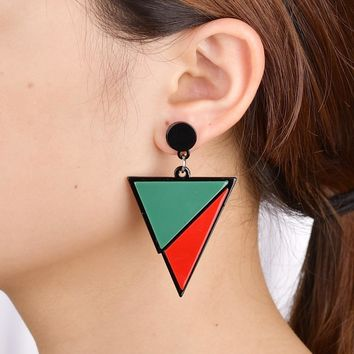 UAM Geometric Triangle Earrings Black White Red Green Big Acrylic Earrings Minimalist Jewelry Simple Women Earrings Pendientes