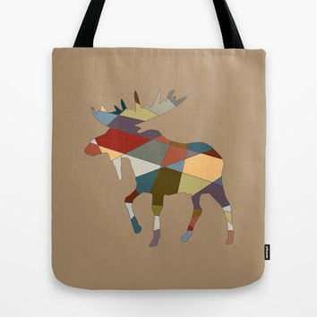 Mosaic Moose Tote Bag by LookHUMAN