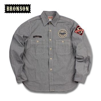 HCXX bronson gas station long-sleeve tooling shirt mans vintage shirt