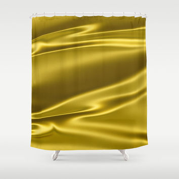 Gold sparkling silk folds Shower Curtain by Natalia Bykova