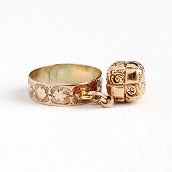 Antique Victorian 10k & 14k Rose Gold Cigar Band With Fob Ring - Vintage 1890s Size 7 1/4 Flower Leaf Unique Charm Repousse Fine Jewelry