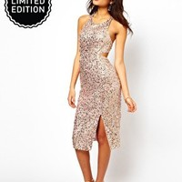 ASOS Midi Dress With Holographic Pastel Sequins