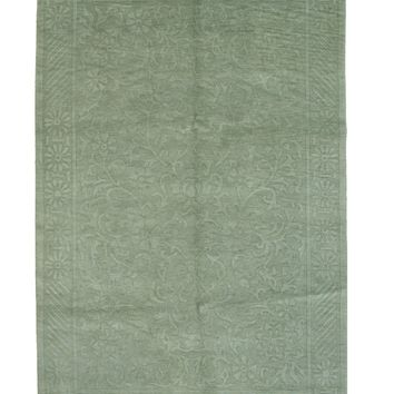 EORC Hand-knotted Wool Green Transitional Geometric Indo-Nepalese Rug
