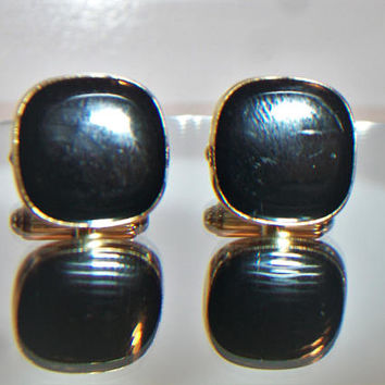 Vintage 50's  60's Square Gold Tone Black/Faux Onyx Lucite Signed ANSON Cufflinks,Men's Jewelry Fathers Day