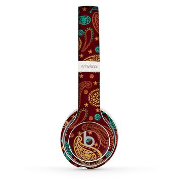 The Brown & Gold Paisley Pattern Skin Set for the Beats by Dre Solo 2 Wireless Headphones