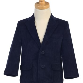 Navy Blue Corduroy Blazer Jacket Single Breasted 2 Button Closure (Boys from 18 months to size 14)