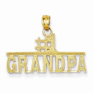 14k Yellow Gold #1 Grandpa Charm Pendant