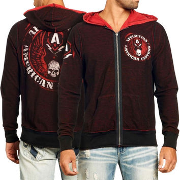 Affliction American Customs Flag Full Zip Hoodie - Red