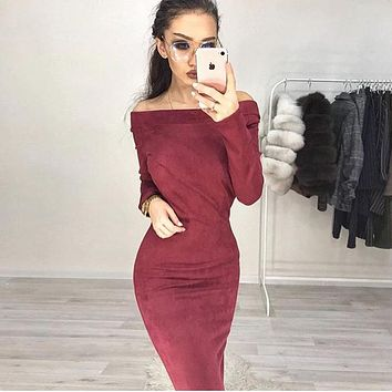 Long Sleeve Women's Fashion Hot Sale One Piece Dress [493581991990]