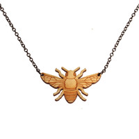 Bee Necklace in Birch Wood