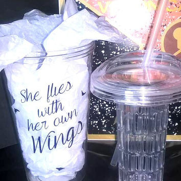 She Flies With Her Own  Wings Feather Custom Fruit Infuser Tumbler