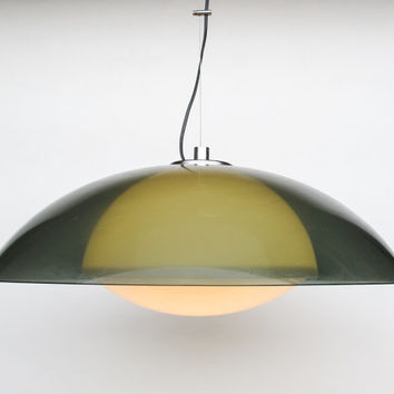 Vintage Ufo Ceiling Light / Green and White Space Age Ceiling Lamp / Pendant Lamp / 60's 70's Retro Home Decor