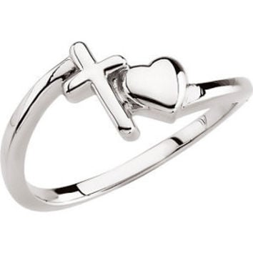 14K Yellow Cross & Heart Chastity Ring without Packaging