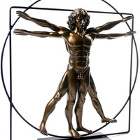 Vitruvian Universal Man Statue by DaVinci Bronze, Assorted Sizes