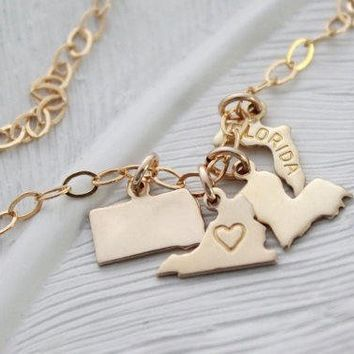 State Charm Bracelet, Gold State Charm Jewelry, Tiny State Charms, Graduation Gift, Personalized State Charm Bracelet, Gift For Friend,