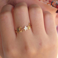 Star Name Ring - Crystal Stones - Gift For Best Friend - Diamond Name Ring - Sterling Silver