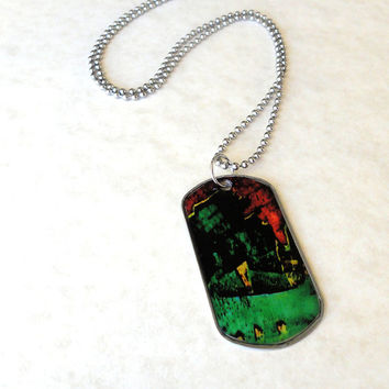 Rust stainless steel dog tag / Men's dog tag / Men's necklace / Red green dog tag / Cool gift for him / FREE SHIPPING