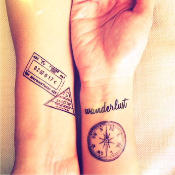 5pcs Set Travel Collection Vintage Compass Wwanderlust Stamp Map tattoo - InknArt Temporary Tattoo - wrist quote tattoo body sticker fake