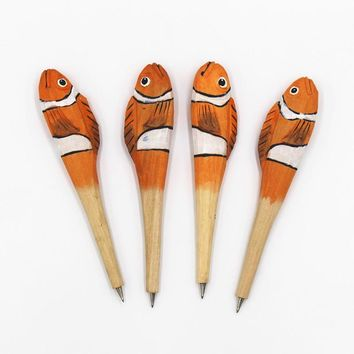 Handmade Wood carving vintage sea shark whale Dolphin Ballpoint pen Party Favor Gift Office Stationery School Writing Supplies