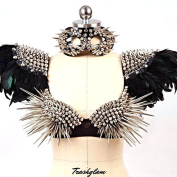 TRASHGLAM over the top high fashion black feathers spike Epaulettes shoulder harness -Statement piece