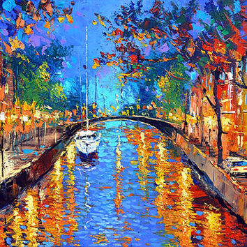"Romantic evening - Wall Art Oil Palette Knife Painting on Canvas by Dmitry Spiros. Size: 26""x40""  (65 cm x100 cm)"