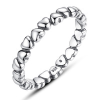 Authentic 925 Sterling Silver LOVE Heart Compatible with fits Pandora Ring Crystal Silver 925 Original Anniversary Jewelry