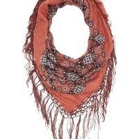 Mauve Combo Square Motif Scarf with Fringe by Charlotte Russe