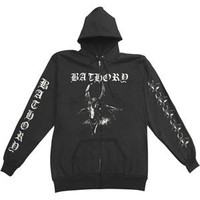 Bathory Men's Goats Head Zippered Hooded Sweatshirt Small Black