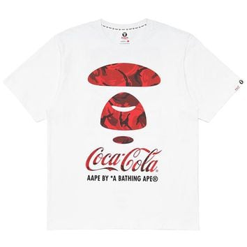 Aape x Coca Cola co-branded 2019 new cotton round neck print half-sleeve T-shirt white