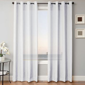 """1 PANEL MIRA  SOLID WHITE  SEMI SHEER WINDOW FAUX SILK ANTIQUE BRONZE GROMMETS CURTAIN DRAPES 55 WIDE X 95"""" LENGTH"""