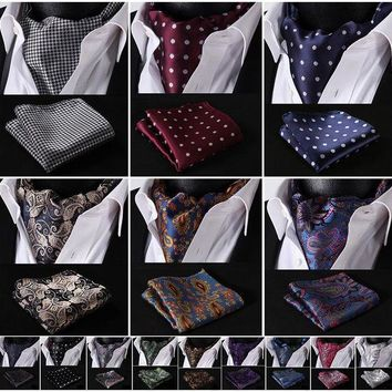 ONETOW Classic Pocket Square Wedding Floral &Paisley & Plaid& Polka Dot Men Silk Cravat Ascot Tie Handkerchief Set #B2