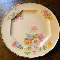 Cottage Chic Pink Floral China Plate with Platinum Trim Made by Taylor Smith & Taylor