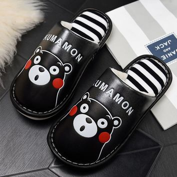 High Quality PU Leathe Fashion Bear Cartoon Cotton Sandalia Winter Slippers with Platform Men Casual Shoes Home Cotton Slippers