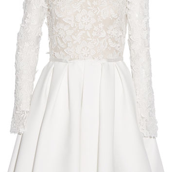 Rime Arodaky - Clover appliquéd tulle and twill dress