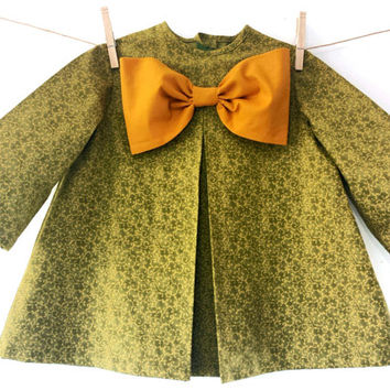 Girls Dress Toddler Baby Vintage Inspired Fall Winter Moss Green Mustard Bow Cottage Chic Photo Prop Birthday original MYSWEETCHICKAPEA