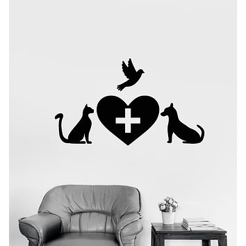 Vinyl Wall Decal Veterinary Clinic Pets Logo Signboard Stickers (3325ig)