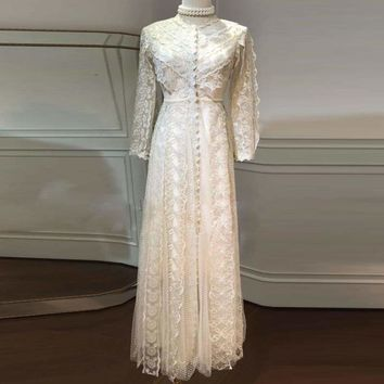 Vintage Golden Embroidery Gauze Sexy Long Maxi Holiday Party Dress