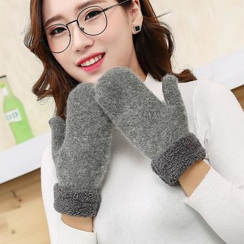 Womail Newly Design Women's Cute Winter Warm Wool Gloves Mittens  Women Pom Pom  Warm Wool Fingerless Winter Gloves