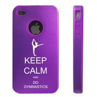 Apple iPhone 4 4S Purple D6984 Aluminum & Silicone Case Cover Keep Calm and Do Gymnastics