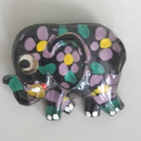 70s Floral ELEPHANT PIN - Vintage 1970s West Germany Cute Novelty Brooch