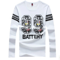 Slim Long Sleeve Korean Casual Round-neck Strong Character Plus Size Cotton Print Tee T-shirts = 6458577091
