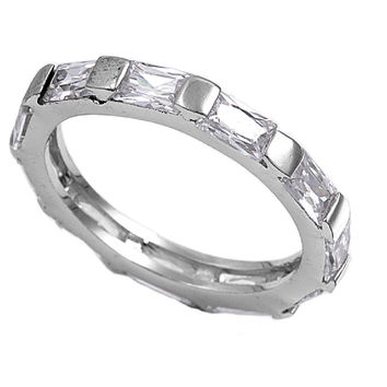 925 Sterling Silver CZ Designer Eternity Baguette Ring 12MM