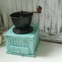 Vintage Aqua Coffee Mill, Aqua and Black Coffee Grinder, Rustic Coffee Grinder, Distressed Coffee Mill, Kitchen Decor, Gift Ideas