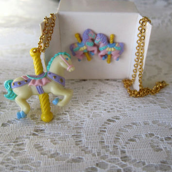 Carousel Horses / Pastel Ponies Earrings & Necklace Set by Avon (w Original Boxes) -- Sugary Sweet Lolita Fairy Kei Style!