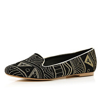 River Island Womens Black tribal embroidered slip-ons