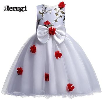 New Arrival Girls Dress Berngi Kids Princess Wedding Party Clothes for 3-12 Years Girls Children Sleeveless Prom White Clothes