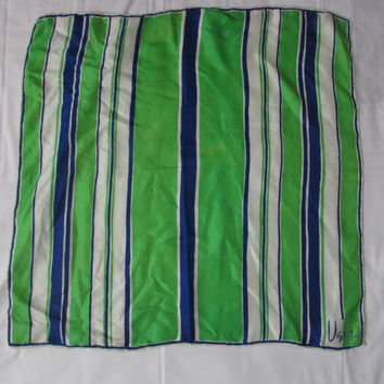 14-1116 Vintage 1960s Vera Scarf / Blue And Green Vera Neumann Scarf / Silk Scarf / Vera Silk Scarf